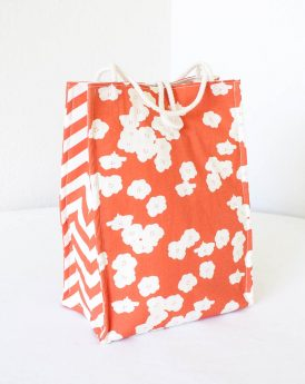 Organic Cotton Lunch Bag -- Coral Poppies