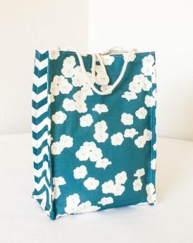 Organic Cotton Lunch Bag -- Teal Blue Poppies