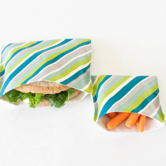 Teal Stripe Organic Sandwich & Snack Bags