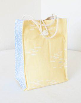 Organic Cotton Lunch Bag -- Yellow and Blue Fish